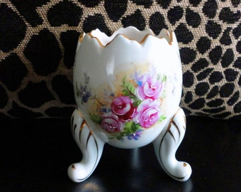 Vintage Porcelain Pale Blue Cracked Egg Shape Planter or Vase Handpainted Roses Gold Trim and 3 Scrolled Legs Inarco
