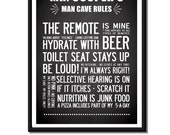 Personalized Man Cave design with your name. A3 luxury poster print.