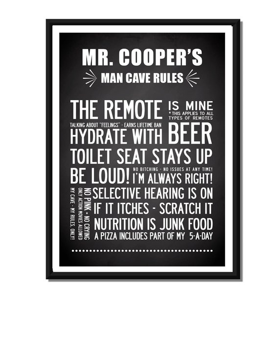 Man Cave Rules Ideas : Personalized man cave design with your name a luxury poster