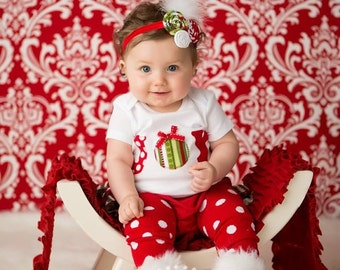 SHORT SLEEVE Christmas red white and green striped and polka dot joy bodysuit ruffle bloomers diaper cover w/matching shabby chiffon