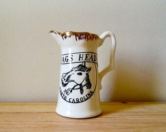 Vintage Nags Head N.C. Souvenir Pitcher,Mini Ceramic Jug Collectible Horse Head, FIVE DOLLAR SALE