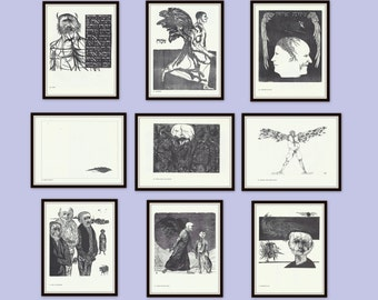Set of 3 Prints, Choose Any 3,  Vintage Leonard Baskin Prints, Black and White, Mid Century Modern Art, Wood Cuts, Etchings, Engravings