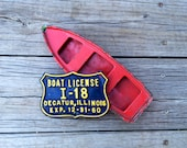 Vintage Boat License Plate Tag Decatur Illinois 1960