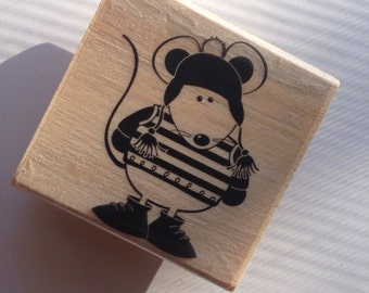 Mouse in Mittens Rubber Stamp  // Brand New