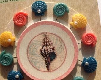 CIJ SALE Decorative Pins from K&Company 12pcs // Seashell