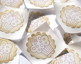 Cupcake Vintage Style Handmade Stickers // Envelope Seals // Set of 12