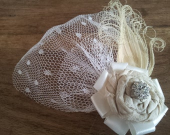 Vintage Bridal Fascinator Blusher Wedding Hair Clip - Fabric Rose Bleached Peacock Feather Veil Ivory Satin Cream Vintage Crystal Button