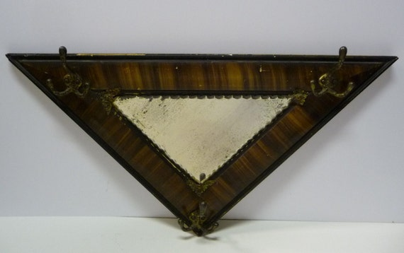 Antique Framed Mirror Hat Rack Triangle Wood Frame Scallop