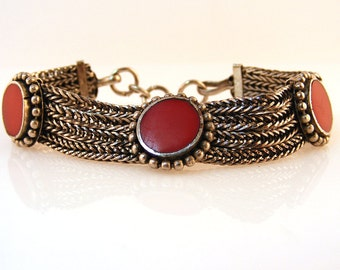 Vintage Red Coral Silver Chain Bracelet