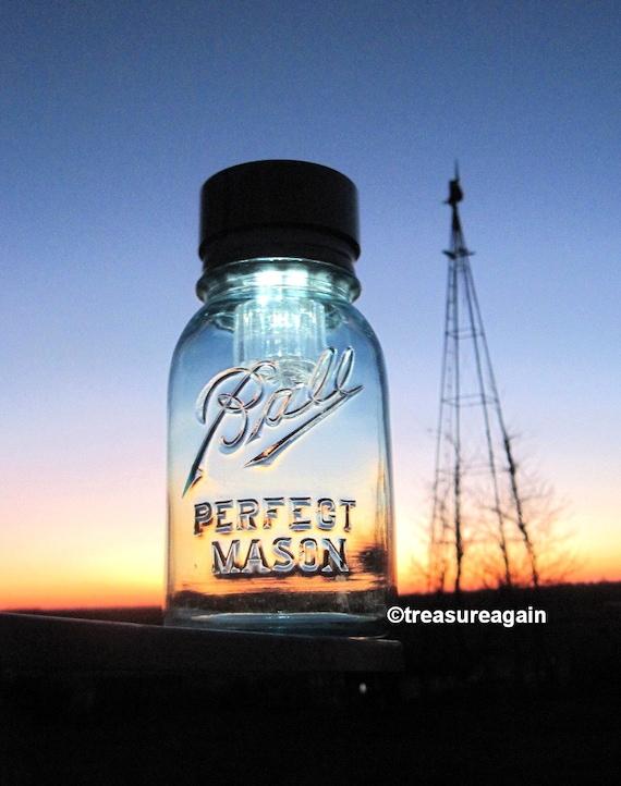 Original Mason Jar Solar Light Blue Antique Ball Mason Jar Lantern, Outdoor Garden Decoration, Upcycled Handmade Solar Jar