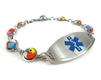 Womens Medical ID Bracelet, Engraved, Millefiori Glass, Blue i1C-YR3