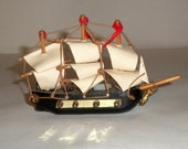 Vintage Lego Tall Ship - Sail Boat - Schooner - Home Decor - Collectible 1960's Wooden Boat with Paper Sails - Vintage Sailing Ship