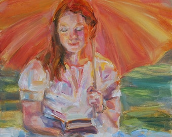 Sale, Girl in Sun, Lady reading, Figurative painting, Lady with umbrella, book, wall decor, wedding gift, Original oil, Romantic, Red Hair