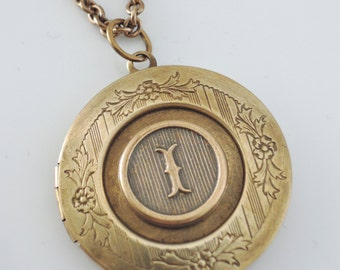 Vintage Locket Necklace - Initial I - Letter I - Vintage Brass Jewelry - Personalized Necklace - ALL LETTERS - handmade jewelry