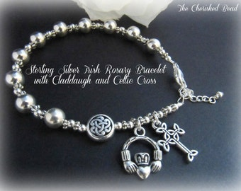 Celtic Irish Sterling Silver Rosary Bracelet with Claddaugh Charm