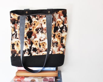 Canvas Tote Bag, Medium Tote Bag, Doggie Print Fabric, Genuine Leather Straps, Brown, Black, Yellow,