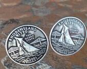 2001 Rhode Island  State Quarter Cufflinks Jewelry By Custom Coin Rings Cuff Links