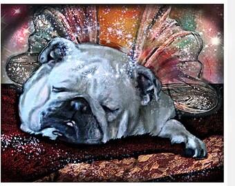 White Bulldog Memorial, English Bulldog, Bully Pop Art Illustration, Pet Portrait, Bulldog Sleeping, Peaceful Winged Angel, Condolence Wings
