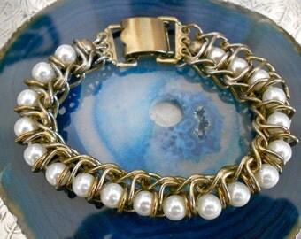 1950's Faux Pearl Chain Bracelet