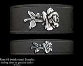 Rose Flower Leather Bracelet Sterling Silver Rose Flower on Leather Bracelet