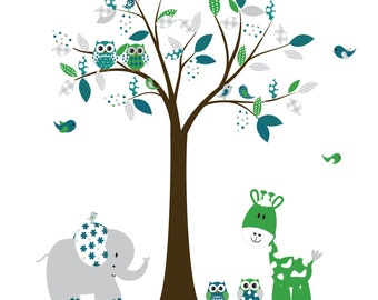 Nursery Jungle Vinyl Wall Decal Baby Boy Decal Set