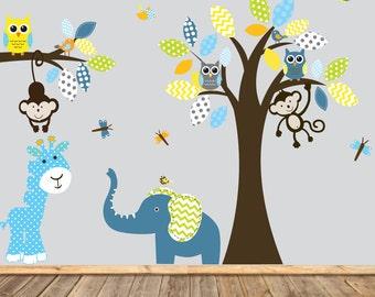 Boy Nursery wall decal jungle decals baby nursery decals giraffe pattern elephant monkeys owl  birds