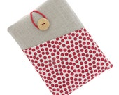 Kindle Paperwhite case, fabric Kindle Touch sleeve, Kindle Fire pouch, Kindle Voyage case, Kobo Aura case, Kobo Glo cover, red dots / white