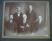 vintage framed photograph of 5 grumpy old men