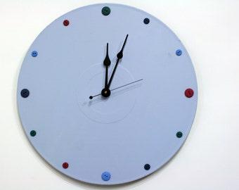 Blue Buttons Wall Clock