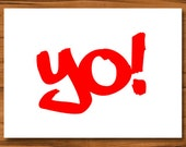 Red Yo Note Cards - Blank for Special Note, Hip Hop Theme Party,