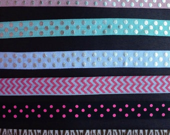 "5/8"" fold over elastic, polka dot FOE, headband elastic, wholesale elastic, print elastic--by the yard (your choice of print(s))"