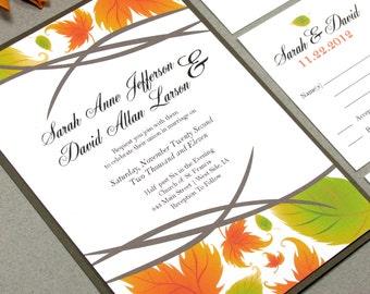 Fall Wedding Invitation Suite, Leaf Wedding Invite Set, Modern Wedding Pocket Invites, Calligraphy Wedding Invitations, Autumn Leaves Invite
