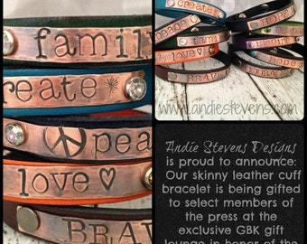 Boho Jewelry - Personalized Bracelet - Leather Cuff - Hand Stamped Bracelet - Word Jewelry - Crystal Rivets - Custom Leather Cuff