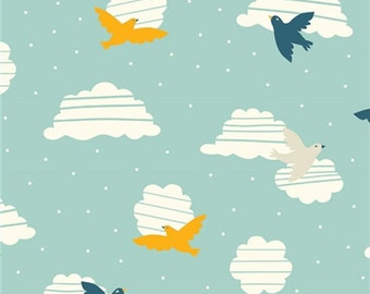 Organic Cotton Fabric - Birch Everyday Party Birds in Flight - Damaged Selvage Edge