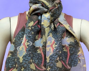 Zinfandel Grapes Handmade Silk Scarf, Blue/Beige, One-of-a-Kind, Printed Scarf, Spring Scarf, Mothers Day Gift, Accessories, Hand Beaded