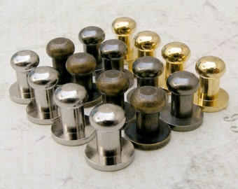 HIGH Quality 20sets 5mm head, BRASS mini Button Studs Stand Leather Screwback for DIY Craft