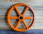"""Vintage Industrial Gear Mold / Large 54"""" Wooden Antique Foundry Machine Age Gear"""