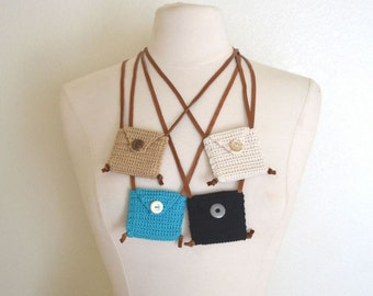 50% OFF Pouch Necklace Pocket Necklace Medicine Bag Small Crochet Pouch Necklace