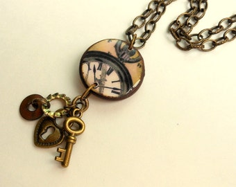 Clock Necklace, The Time Keeper,Steampunk Jewelry,Heart and Key Charms