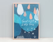 A3 Abstract Art for Little Boys Room, Boys Bedroom Typography Art, Good night Little One, Stars, Raindrops, Moon Art Print, Mountains