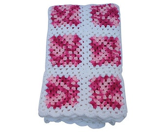 Vintage Mid Century Modern Handcrafted Hot Pink & White Squares Afghan Blanket Throw