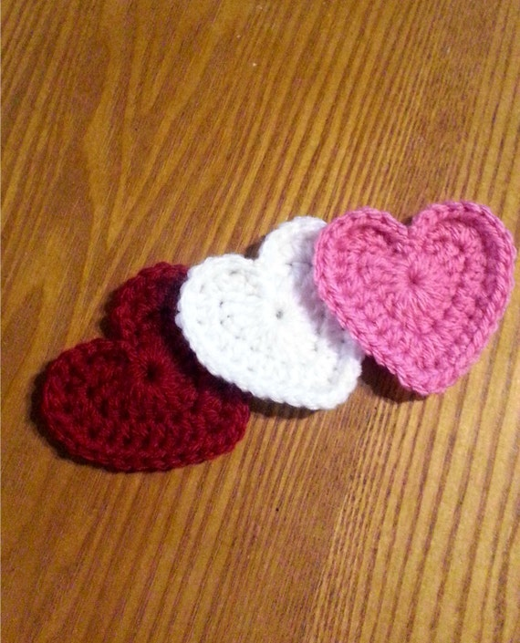 Crochet Heart Appliques Set of Three - Red, White and Pink Hearts