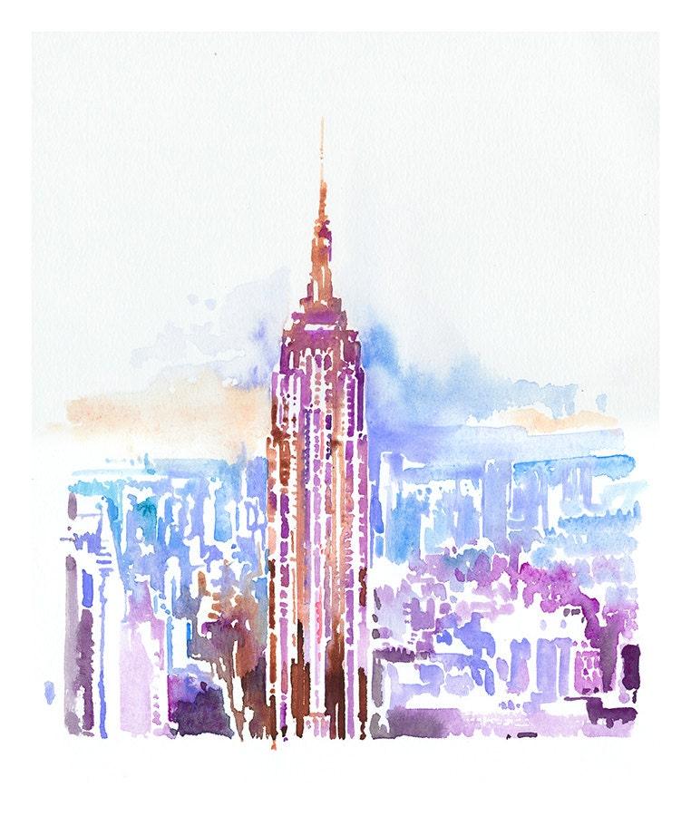 Watercolor New York: New York New York Skyline Print From Original Painting