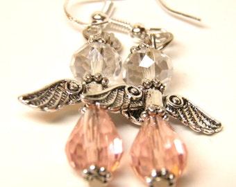 Angel Earrings, Sterling Silver and Pink Swarovski Crystals, Christmas Earrings, Christmas Jewelry, Fairy Earrings, Fairy Jewelry