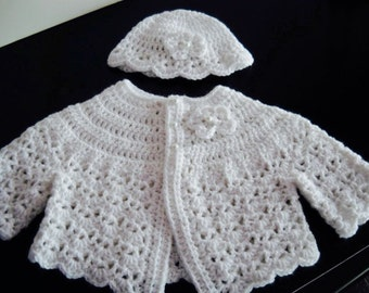 Crochet White Baby Sweater Hat Set