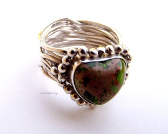 Sterling Silver Multi-Layers Multi-Rings Interweaving Rings Stone Set Ring Size 7.3/4