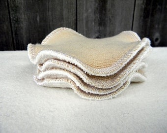 Nursing Pads Set Of Two Pair  Two Layers of Upcycled Wool /Bamboo Velour/  Absorbent Breastfeeding Pads