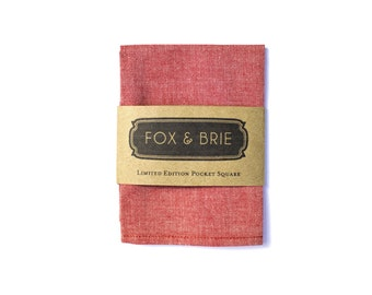 Red Chambray Pocket Square