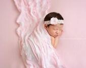 Ruffle Stretch Fabric Wrap Parfait Pink White Striped Newborn Photography Prop Posing Layer