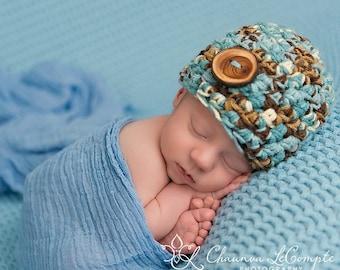 Little Man Newborn Beanie Hat in Blues and Browns
